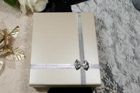 הזמנות לחתונה קופסאות b106 שמנת עם פפיון כסוף סגור