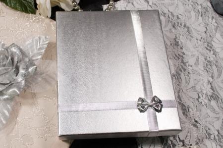 הזמנות לחתונה קופסאות b108-b כסוף עם פפיון כסוף סגור
